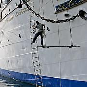 Three weeks aboard the Kong Harald. Hurtigruten, the Coastal Express. Sailship the barque Statsraad Lehmkuhl in the harbour of Bergen.