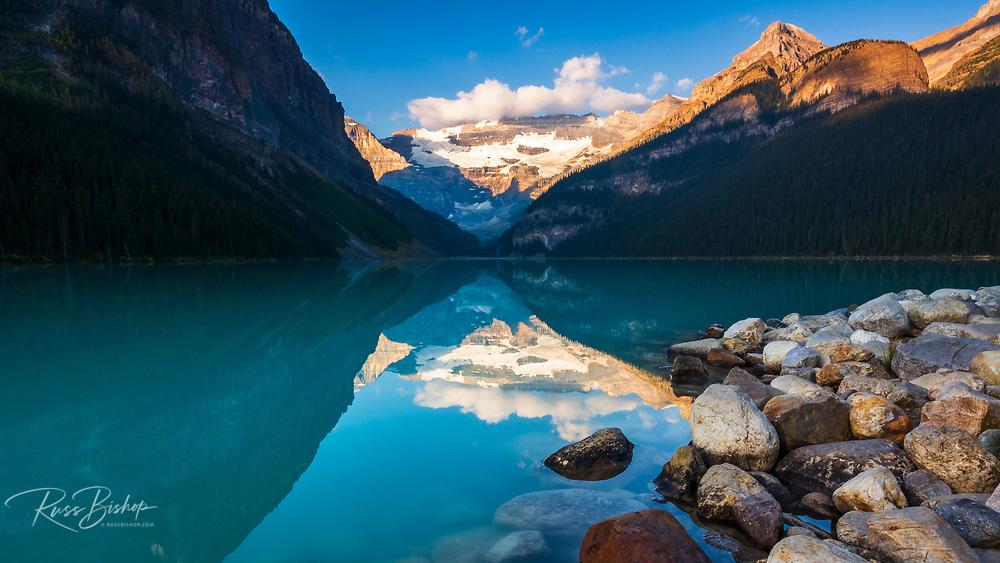 Dawn light on Lake Louise, Banff National Park, Alberta, Canada