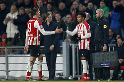 (L-R), Luuk de Jong of PSV, Phillip Cocu of PSV, Donyell Malen of PSV during the Dutch Eredivisie match between PSV Eindhoven and PEC Zwolle at the Phillips stadium on February 03, 2018 in Eindhoven, The Netherlands