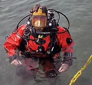 Scuba diver with Full diving mask at Dutch Springs, Scuba Diving Resort in Bethlehem, Pennsylvania