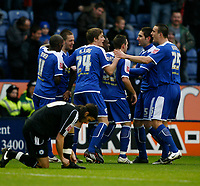 Photo: Steve Bond/Richard Lane Photography. Leicester City v Peterborough United. Coca-Cola Football League One. 20/12/2008. Matty Fryatt (2nd L) is congratulated on the og