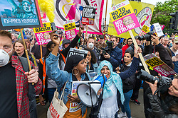 © Licensed to London News Pictures. 04/06/2019. London, UK. Protesters against President Donald Trumps state visit to the UK gather in Parliament Square this afternoon. Photo credit: Andrew McCaren/LNP