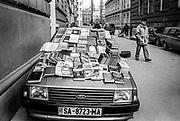 Car used as a temporary book stall, Sarajevo, 1998.