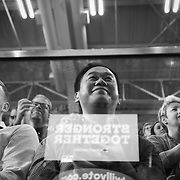 Raleigh, NC - November 7,  2016: A Hillary Clinton supporter stands and waits inside the Reynolds Coliseum on the campus of North Carolina State. The campaign will make a final stop in NC before election day.  CREDIT: LOGAN R CYRUS