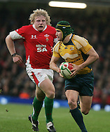 Matt Giteau of Australia breaks away from Duncan Jones of Wales .Invesco Perpetual series, Wales v Australia at the Millennium Stadium on Saturday 28th Nov 2009.  pic by Andrew Orchard, Andrew Orchard sports photography, .EDITORIAL USE ONLY