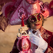 VENICE, ITALY - FEBRUARY 25:  A man dressed in Carnival Costume holding St. Mark's Lion poses at the Doge Palace on February 25, 2014 in Venice, Italy. The 2014 Carnival of Venice will run from February 15 to March 4 and includes a program of gala dinners, parades, dances, masked balls and music events.  (Photo by Marco Secchi/Getty Images)