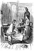 The Rev. and Mrs Crawley and their young family which, as an impoverished parson, he had difficulty in supporting. Illustration by John Everett Millais (1829-1896), English artist and founder member of Pre-Raphaelite Brother hood,  for Anthony Trollope 'Framley Parsonage'  serialised in 'The Cornhill Magazine', London, 1860. Engraving