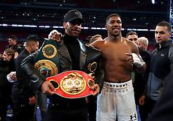 Anthony Joshua post fight with Rio Ferdinand following the IBF, WBA and IBO Heavyweight World Title bout against Wladimir Klitschko at Wembley Stadium, London.