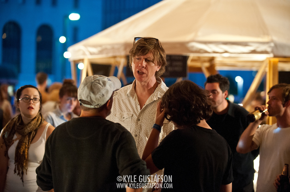 Thurston Moore talks to fans during a break in performing at the Station to Station tour, an artist-driven public art project made possible by Levi's.