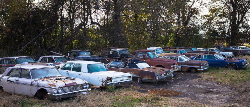 Fords, Dodge, Chevvie autos in graveyard of abandoned rusty old American automobiles, MIssissippi, USA