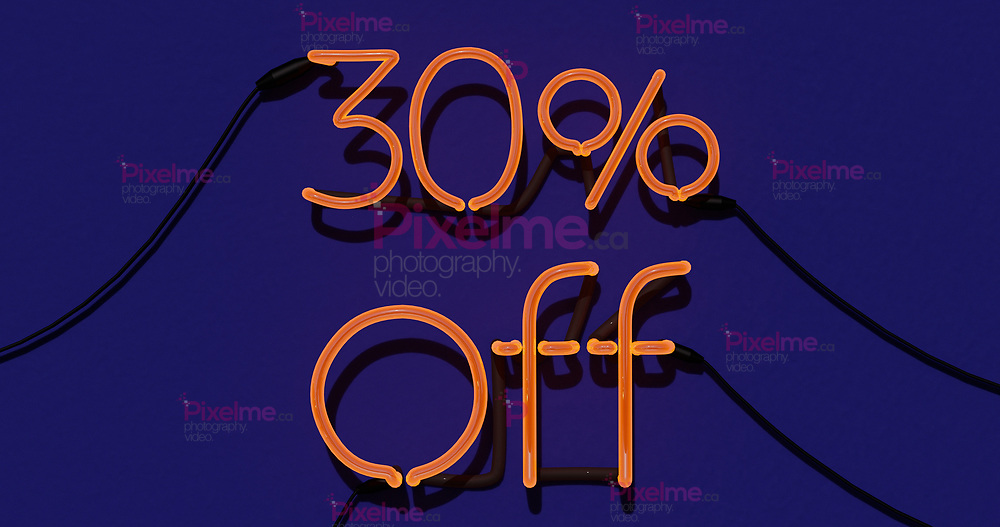30 Percent Discount 3d Sign on in Blue Background, Special Offer 30% Neon, Sale Up to 30 Percent Off, Special Offer Advertising - 3D Rendering Concept