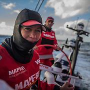Leg 3, Cape Town to Melbourne, day 03,  Sophie Ciszek and Xabi Fernandez on board MAPFRE. Photo by Jen Edney/Volvo Ocean Race. 12 December, 2017.