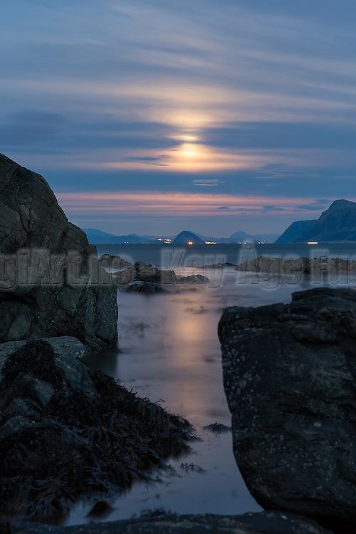 Magical moonlight at Runde, Norway, with view to Ålesund   Magisk månelys på Runde med utsikt mot Ålesund.
