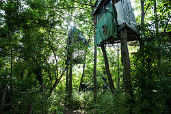 Sipson, UK. 5th June, 2018. A tree houses are pictured at Grow Heathrow. Grow Heathrow is a squatted off-grid eco-community garden founded in 2010 on a previously derelict site close to Heathrow airport to rally support against government plans for a third runway and it has since made a significant educational and spiritual contribution to life in the Heathrow villages, which remain threatened by Heathrow airport expansion.