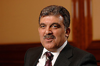 03 APR 2007, BERLIN/GERMANY:<br /> Abdullah Guel, Aussenminister der Tuerkei, waehrend einem Interview, Hotel Ritz-Charlton<br /> IMAGE: 20070403-01-022<br /> KEYWORDS: Abdullah Gül, Türkei