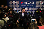 Presidential candidate Sen. Ted Cruz speaks to the media before a campaign rally on February 28, 2016 in Oklahoma City, Oklahoma.  (Cooper Neill for The New York Times)