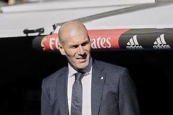 March 16, 2019 - Madrid, Madrid, Spain - Real Madrid's coach Zinedine Zidane seen during La Liga match between Real Madrid and Real Club Celta de Vigo at Santiago Bernabeu Stadium in Madrid, Spain. March 16, 2019. (Credit Image: © Legan P. Mace/SOPA Images via ZUMA Wire)