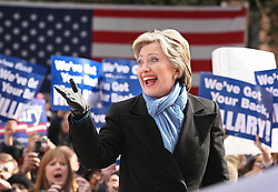 Democratic presidential candidate Hillary Clinton signals to the supporters behind the stage before briefly addressing a crowd of supporters in front of the Tarrant County Courthouse in Fort Worth, TX, USA, on Friday February 22, 2008. Photo by Ron T. Ennis/Fort Worth Star-Telegram/MCT/ABACAPRESS.COM