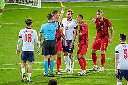 LEUVEN, BELGIUM - Sunday, November 15, 2020: Belgium's Toby Alderweireld (R) is shown a yellow card by referee Danny Makkelie during the UEFA Nations League Group Stage League A Group 2 match between England and Belgium at Den Dreef. (Pic by Jeroen Meuwsen/Orange Pictures via Propaganda)