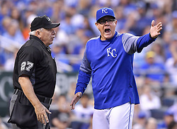 August 3, 2017 - Kansas City, MO, USA - Kansas City Royals manager Ned Yost argues with home plate umpire Larry Vanover after the Seattle Mariners' Danny Valencia's home run was ruled fair on review in the fourth inning at Kauffman Stadium in Kansas City, Mo., on Thursday, Aug. 3, 2017. Yost was ejected during the argument. (Credit Image: © John Sleezer/TNS via ZUMA Wire)