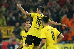 27.08.2015, Signal Iduna Park, Dortmund, GER, UEFA Euro Qualifikation, Borussia Dortmund vs Odd Grenland, Playoff, Rückspiel, im Bild v.l. Mats Hummels (Dortmund), Henrikh Mkhitaryan (Dortmund) un Ilkay Guendogan (Dortmund) jubeln nach dem Tor zum 2:1 durch Henrikh Mkhitaryan (Dortmund) // during UEFA Europa League Playoff 2nd Leg match between Borussia Dortmund and Odd Grenland Signal Iduna Park in Dortmund, Germany on 2015/08/27. EXPA Pictures © 2015, PhotoCredit: EXPA/ Eibner-Pressefoto/ Hommes<br /> <br /> *****ATTENTION - OUT of GER*****