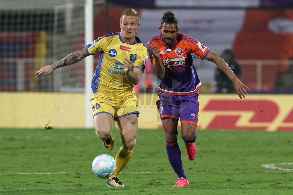 Gudjon Baldvinsson 16 of Kerala Blasters FC and Adil Ahmed Khan of FC Pune City  in action during match 62 of the Hero Indian Super League between FC Pune City and Kerala Blasters FC  held at the Shree Shiv Chhatrapati Sports Complex Stadium, Pune, India on the 2nd Feb 2018<br /> <br /> Photo by: Faheem Hussain / ISL / SPORTZPICS