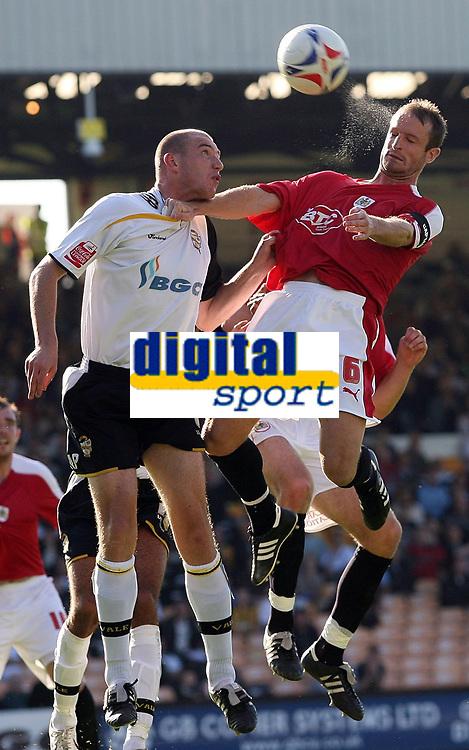 Photo: Paul Thomas.<br /> Port Vale v Bristol City. Coca Cola League 1. 23/09/2006.<br /> <br /> Richard Walker of Port Vale is beaten to the ball by Bristol's Louis Carey (R).
