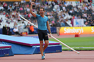 Renaud Lavillenie of France wins the pole vault during the Sainsbury's Anniversary Games at the Queen Elizabeth II Olympic Park, London, United Kingdom on 25th July 2015. Photo by Ellie Hoad.