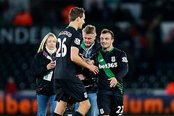 Philipp Wollscheid and Xherdan Shaqiri celebrate after Stoke City win the match 0-1 - Mandatory byline: Rogan Thomson/JMP - 07966 386802 - 19/10/2015 - FOOTBALL - Liberty Stadium - Swansea, Wales - Swansea City v Stoke City - Barclays Premier League.