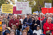 """Apr. 15, 2009 -- PHOENIX, AZ: The crowd during the """"Tea Party"""" at the Arizona State Capitol in Phoenix Wednesday. Nearly 10,000 people attended the rally, which was supposed to be in opposition to the Obama economic plan but turned into a general anti-Obama rally.  Photo by Jack Kurtz"""