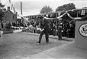 01/07/1962<br /> 07/01/1962<br /> 01 July 1962<br /> First sod turned at the new United States embassy at Ballsbridge, Dublin. Image shows American Ambassador to Ireland, Mr. Grant Stockdale turning the first sod at the building site at ceremony watched by attendees and a Marine First Sergeant. The embassy was expected to cost 1,000,000 dollars and take two years to build.