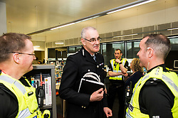 Pictured: Chief Constable Phil Gormley chatted to Sargant Kevin Smith and Chief Inspector Kevin McLean<br /> Police Scotland Chief Constable Phil Gormley unveiled details of the 'Your View Counts' exercise, which will help shape policing priorities throughout the country in Edinburgh today. <br /> Ger Harley   EEm 7 April 2016