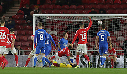 Britt Assombalonga of Middlesbrough scores his sides opening goal of the game - Mandatory by-line: Joe Dent/JMP - 05/01/2019 - FOOTBALL - Riverside Stadium - Middlesbrough, England - Middlesbrough v Peterborough United - Emirates FA Cup third round proper