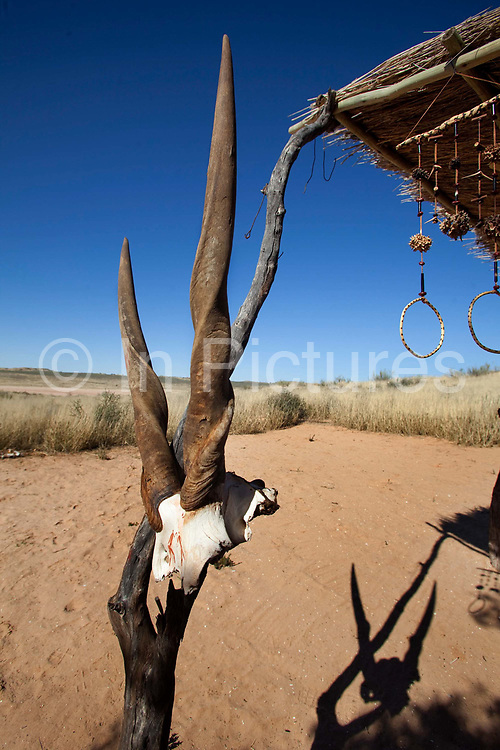 Near the camp is a small Bushman village, built for the tourists, and inhabited by volunteers from the nearest San settlement for two weeks at a time who sit in the sand making bracelets, necklaces and bows and arrows in the old way using seeds, favoured trees and ostrich shell.<br /> <br /> Kagalagadi Transfrontier Park,Xaus camp, <br />  !Xaus, is owned by the San (Bushman) and Mier people who originally hunted here, and had a large tract of land in the park returned to them a few years ago.