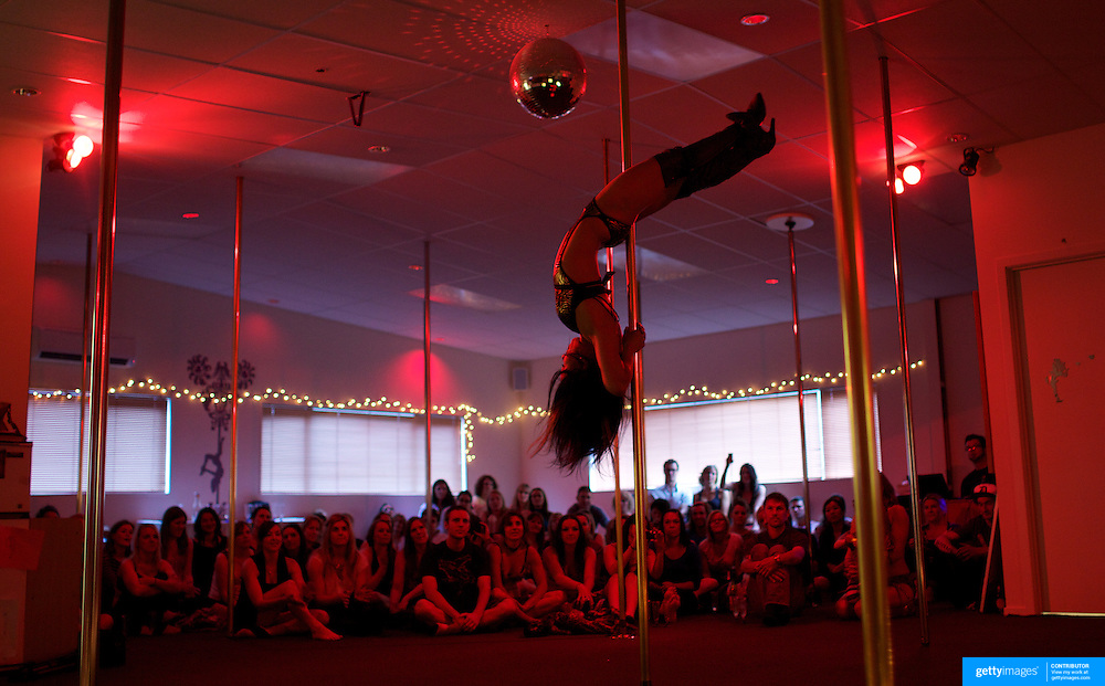 Yukka Adachi  pole dancing during the Queenstown Pole Studios end of year show at the Queenstown Pole Studio, Gorge Road,  Queenstown. South Island, New Zealand. 10th November, 2011