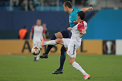 November 23, 2017 - Russia - forward Artem Dzyuba of FC Zenit and defender Evgeni Novak of FC Vardar during UEFA Europa League Football match Zenit - Vardar. Saint Petersburg, November 23,2017 (Credit Image: © Anatoliy Medved/Pacific Press via ZUMA Wire)