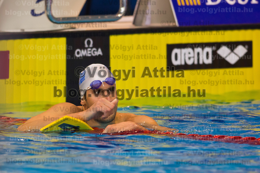 Aristeidis Grigoriadis of Greece competes in the Men's 100m Backstroke final of the 31th European Swimming Championships in Debrecen, Hungary on May 22, 2012. ATTILA VOLGYI