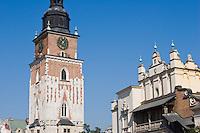 Town Hall tower in Rynek Glowny Market Square in Krakow Poland