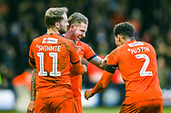 Goal 3-0 Luton Town midfielder George Moncur celebrates scoring his second goal  with his team mates during the EFL Sky Bet League 1 match between Luton Town and Wycombe Wanderers at Kenilworth Road, Luton, England on 9 February 2019.