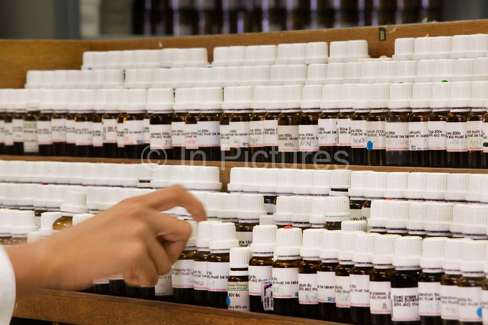 Pharmacy department at the London Homeopathic Hospital on 3rd December 2005 in London, United Kingdom. Part of University College London Hospitals NHS Foundation Trust, it is the largest public sector provider of complementary medicine in Europe. From 3 April 2018, the hospital stopped providing NHS-funded homeopathic remedies for any patients as part of their routine care after health service chiefs said homeopathy was at best, a placebo.
