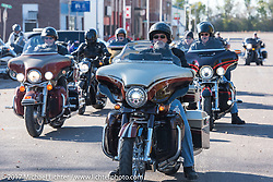 Lonnie Entenman of J and L Harley-Davidson heading out after a stop in Groton, SD for a flag raising ceremony during the USS South Dakota submarine flag relay across South Dakota. USA. Sunday October 8, 2017. Photography ©2017 Michael Lichter.