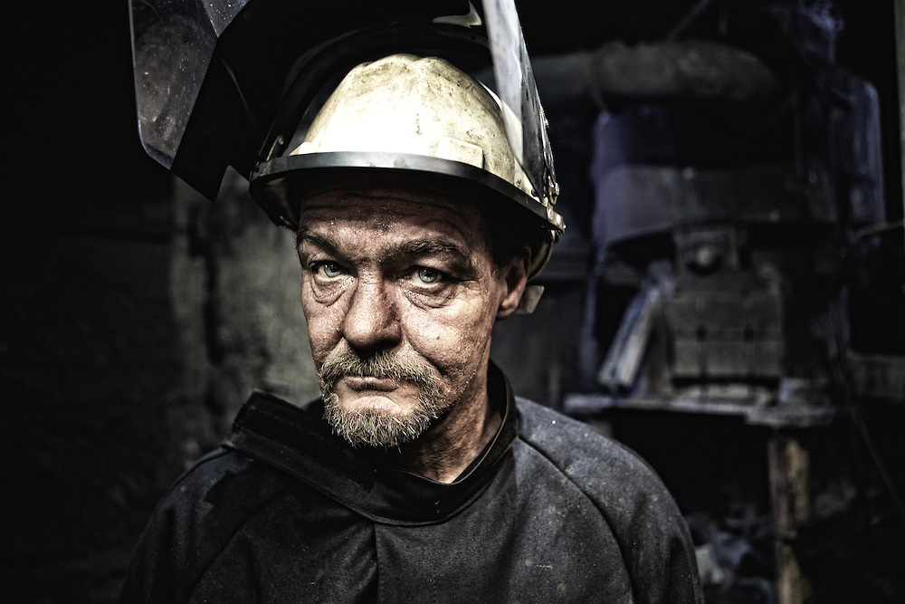 Foundry worker in Hargreaves iron works in Halifax UK