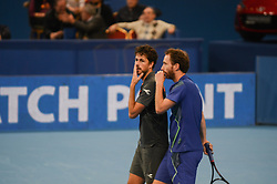 February 10, 2018 - Sofia, Bulgaria - Robin Haase and Matwe Middelkoop of Netherlands ..speak, during their semi match. Robin Haase and Matwe Middelkoop of Netherlands win their 1/ 2 final match over Divij Sharan(India) and Scott Lipsky(USA) 64 62, during DIEMAXTRA Sofia Open 2018 in Arena Armeec Hall in Sofia, Bulgaria on February 10, 2018  (Credit Image: © Hristo Rusev/NurPhoto via ZUMA Press)