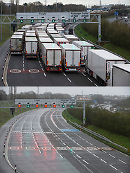 © Licensed to London News Pictures  21/12/2020. Folkestone, UK. The Channel tunnel is closed in Kent. Comparison pictures (12.12.2020 queues of Freight lorries) and today (21.12.2020 empty lanes) A major police operation is underway in Kent as Operation Stack is implemented on the M20 due to the Port of Dover and Channel Tunnel having to close in response to France closing its borders to the UK. All freight and passenger traffic have been banned for 48 hours due to the new mutant strain of the Coronavirus in England. traffic. Photo credit:Grant Falvey/LNP