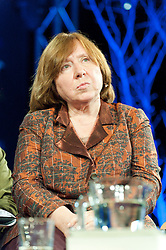 © Licensed to London News Pictures. 28/05/2016. Hay-on-Wye, Powys, Wales, UK. Heroic Belarusian journalist Svedlana Alexievich talks to Bridget Kendall at The Hay Festival. Fine weather on the third day of the Hay Festival at Hay-on-Wye, Wales. Photo credit: Graham M. Lawrence/LNP