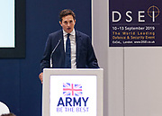 London, United Kingdom - 12 September 2019<br /> Johnny Mercer MP, Parliamentary Under-Secretary of State for Defence People and Veterans for the UK Government gives a keynote address speech and answers questions from the audience at DSEI 2019 security, defence and arms fair at ExCeL London exhibition centre.<br /> (photo by: EQUINOXFEATURES.COM)<br /> Picture Data:<br /> Photographer: Equinox Features<br /> Copyright: ©2019 Equinox Licensing Ltd. +443700 780000<br /> Contact: Equinox Features<br /> Date Taken: 20190912<br /> Time Taken: 10105900<br /> www.newspics.com