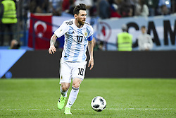 June 21, 2018 - Nizhny Novogorod, Russia - Lionel Messi of Argentina runs with the ball during the FIFA World Cup Group D match between Argentina and Croatia at Nizhny Novogorod Stadium in Nizhny Novogorod, Russia on June 21, 2018  (Credit Image: © Andrew Surma/NurPhoto via ZUMA Press)