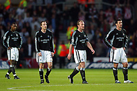 Photo: Scott Heavey, Digiatlsport<br /> NORWAY ONLY<br /> <br /> Southampton v Newcastle united. FA Barclaycard Premiership. 12/05/2004.<br /> A dejected Newcastle (From left to right) Titus Bramble, Lee Bowyer, Alan Shearer and Gary Speed after losing the lead for the second time in the first half