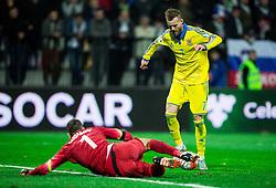 Samir Handanovic (SLO) vs Andriy Yarmolenko (UKR) when Yarmolenko scored in last second during the UEFA EURO 2016 Play-off for Final Tournament, Second leg between Slovenia and Ukraine, on November 17, 2015 in Stadium Ljudski vrt, Maribor, Slovenia. Photo by Vid Ponikvar / Sportida