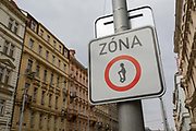 A Segway-free zone sign on Karmelitska street, Smichov district, Prague 5, on 19th March, 2018, in Prague, the Czech Republic. In 2016, a ban was introduced on Segway motor scooters in Pragues historic center and some other parts of the Czech capital. Authorities placed 610 traffic warning signs in the Segway-free areas. Using the two-wheeled scooters in those zones will be punishable by a fine of up to 2,000 koruna. Protests from locals over the number of tourists riding Segways on sidewalks and Pragues narrow cobbled streets prompted city officials to approve the ban to include Pragues 1st, 2nd 3rd, 4th, 7th and 8th districts, including streets and walkways.